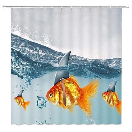 Feierman Shark Fin Goldfish Shower Curtain Decor Unique Design Ocean Bathroom Mildew Resistant Machine