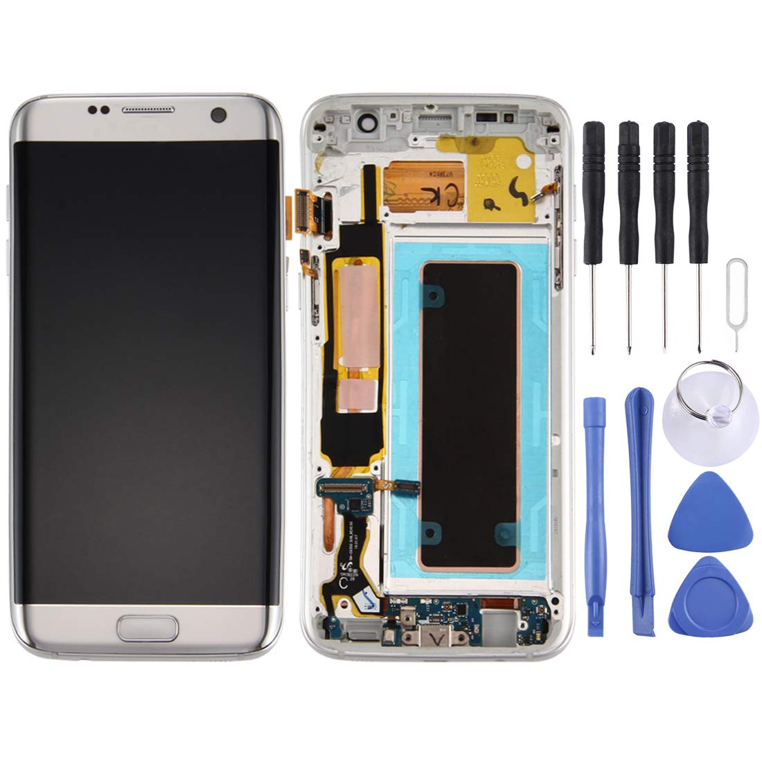 Anstorematealliance LCD screen GuoBo新しいLCDスクリーンとデジタイザーフルアセンブリ、フレームと充電ポートボード、ボリュームボタンとGalaxy S7 Edge用電源ボタン、G935F(ブラック) (色 : Silver) B07PRMD65K Silver