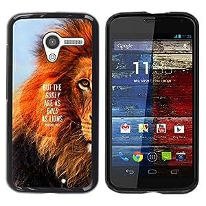 YOYOYO Smartphone Protección Defender Duro Negro Funda Imagen Diseño Carcasa Tapa Case Skin Cover Para Motorola Moto X 1 1st GEN I XT1058 XT1053 XT1052 XT1056 XT1060 XT1055 - león texto melena inspiradora cita de verano