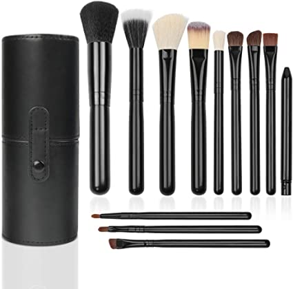 Brochas de Maquillaje, 12pcs Pinceles de maquillaje Set Premium Synthetic Foundation Brush Blending Face Powder Blush Concealers Kit de pinceles con Estuche de Viaje: Amazon.es: Belleza
