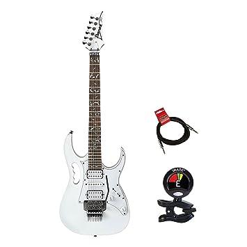 Ibanez jemjr Steve Vai Firma Jem Series Guitarra eléctrica paquete en blanco con Clip de sintonizador para guitarra y instrumento Cable Bundle: Amazon.es: ...