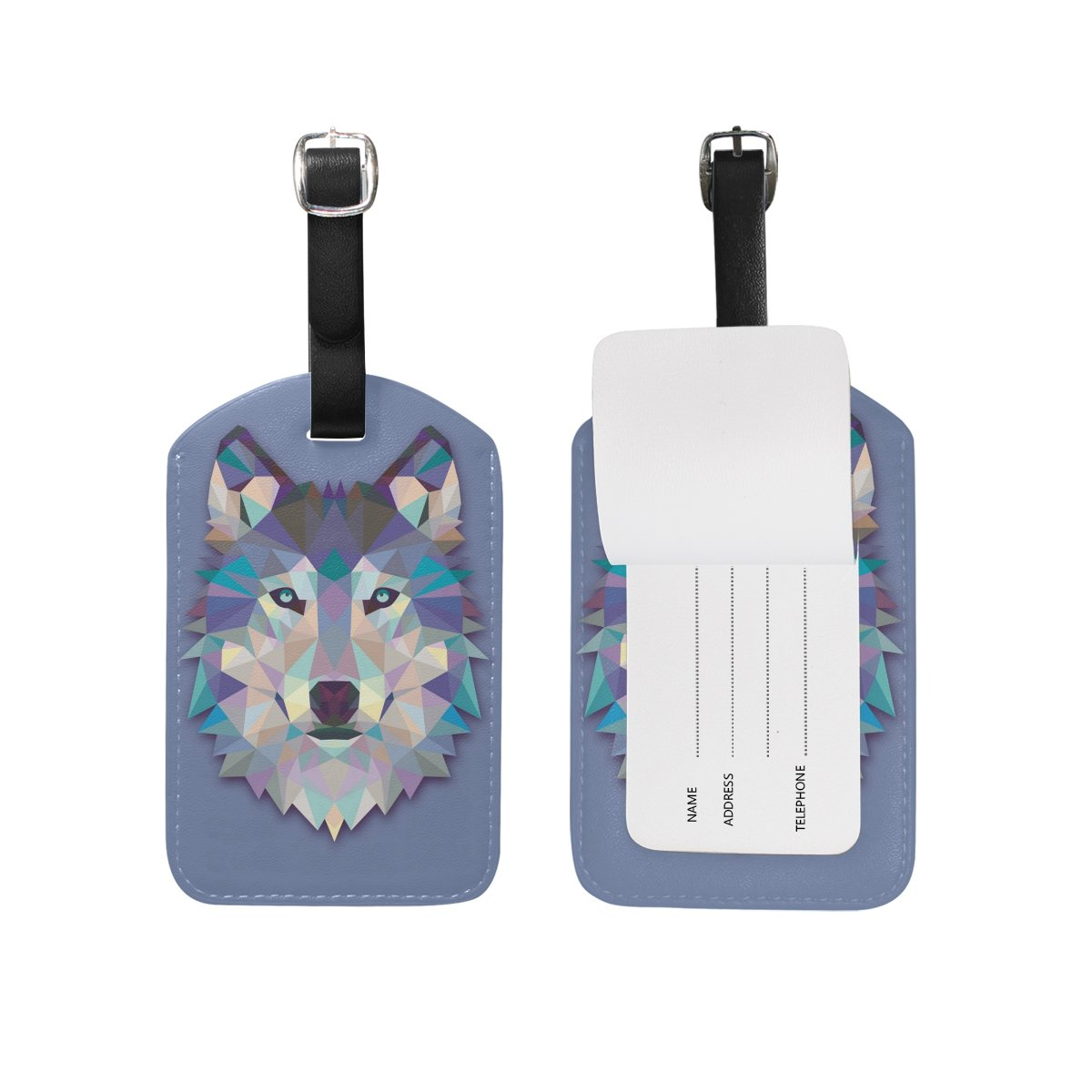 Hulahula Wolf Leather Travel Luggage Baggage Card Tag Suitcase ID Label(2Pcs)