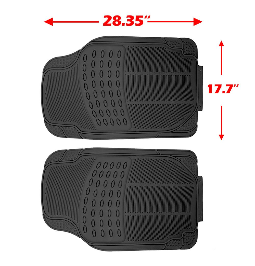 Scitoo 17-PCS Car Floor Mats W/Trunk Liner Gray/Red Car Seat Covers W/Steering Wheel Cover for Heavy Duty Vans Trucks by Scitoo (Image #5)