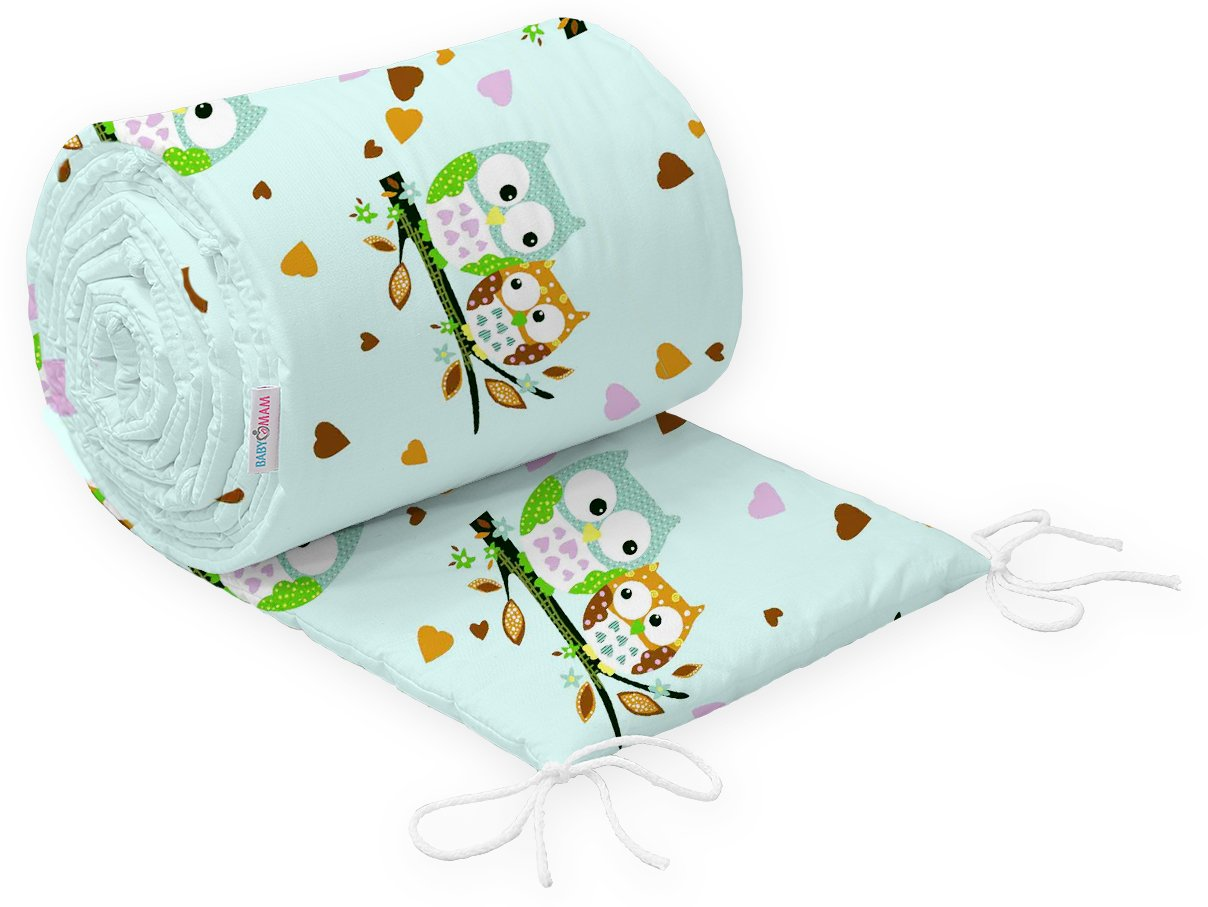 BABY INFANT PADDED BUMPER FOR COT BED 140X70 STRAIGHT 190 CM 100/% COTTON /… Red Hearts on White