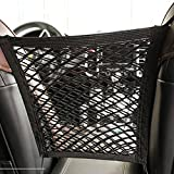 Car Front Seat Storage Net Bags Universal 2 Layer Car Seat Net Storage Mesh Organizer Stretchy Fine Cargo Net for Purse Bag Phone Pets Dogs Children Disturb Stopper