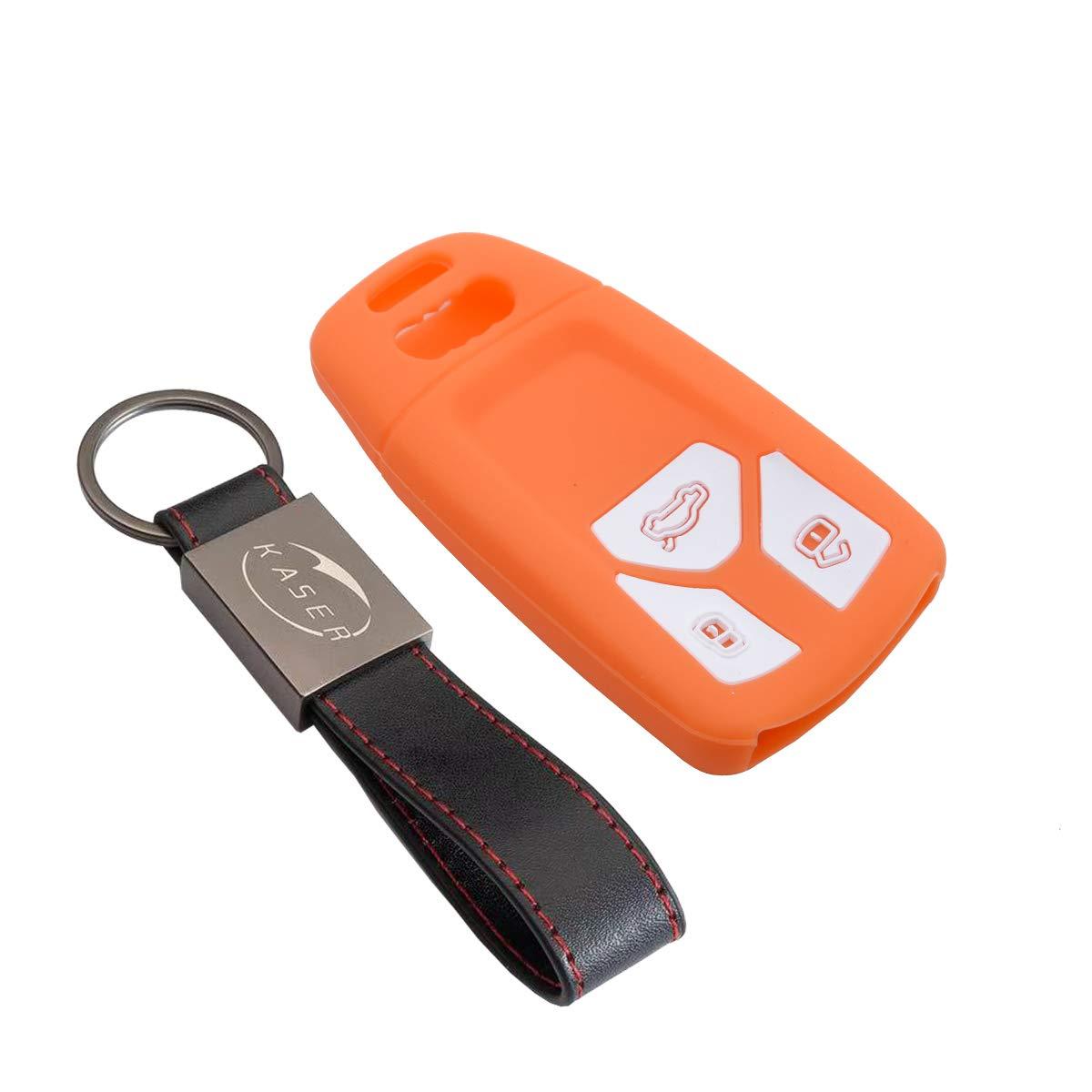 Coque Cover Porte-Cl/és pour Audi A3 A4 A5 A7 A8 Q2 Q5 Q7 TT Keyless GO Protection T/él/écommande Voiture Noir kaser Housse /étui en Silicone pour Cl/é Audi