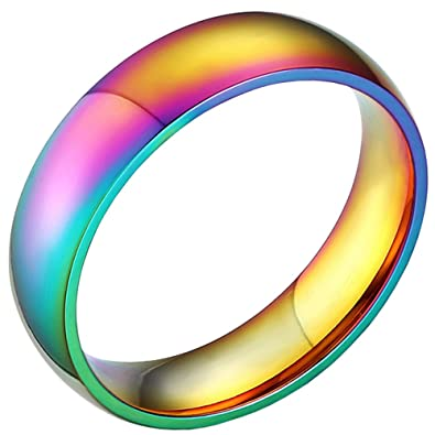 rainbow wedding bands classic 6mm titanium stainless steel colorful gay lala promise band rings high polished - Rainbow Wedding Rings