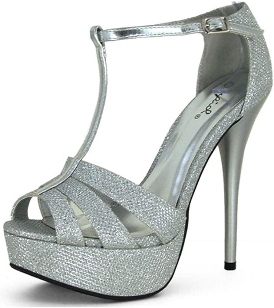 Qupid Women's Silver Glitter Peep Toe