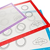 BakeitFun Silicone Baking Mat With Ruler, Set of 3, One Quarter and Two Half Sheet, Professional German Grade, Reusable Non-Stick Surface, Oven And Microwave Safe, Bonus Digital Cookbook