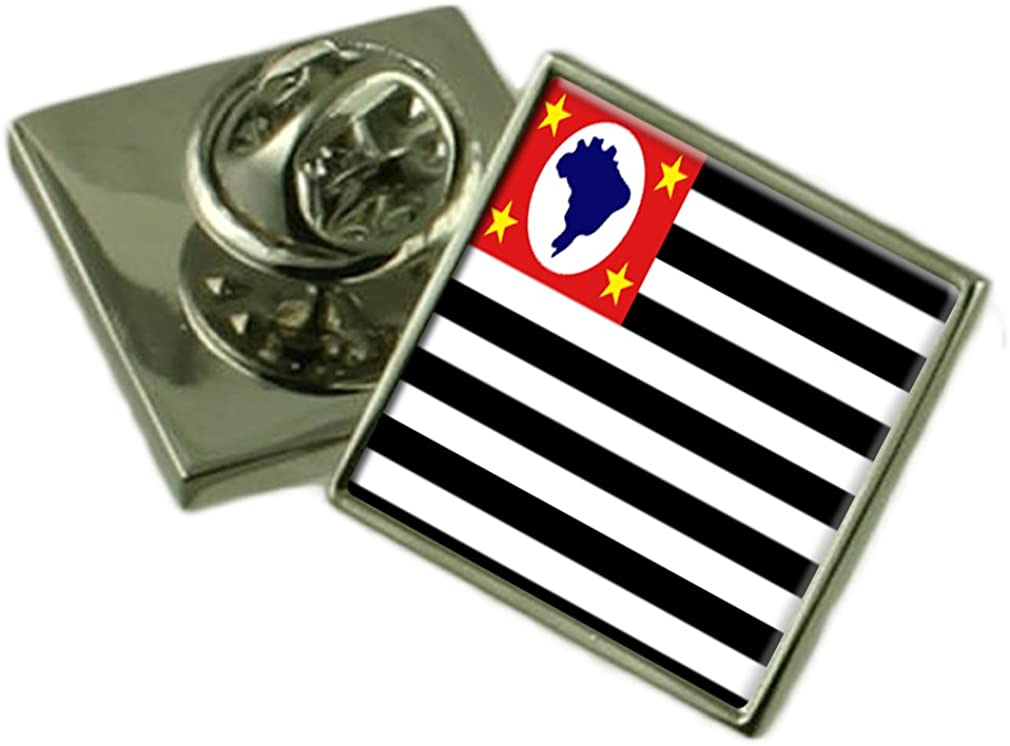 S/ão Paulo Flag Lapel Pin Badge Solid Silver 925