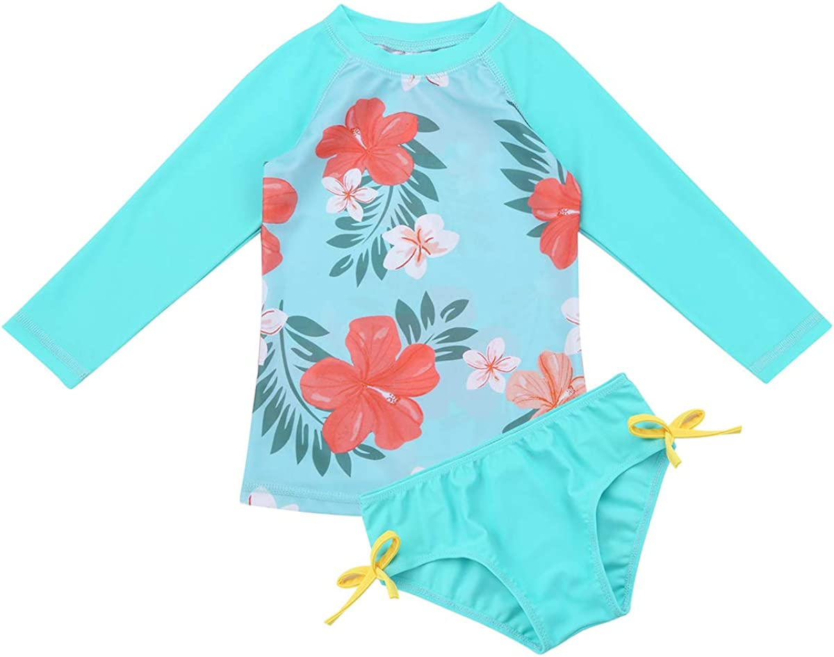 moily Baby Little Girls Floral Tankini Set Long Sleeve Rash Guard Shirt with Bottoms Surf Bathing Suit