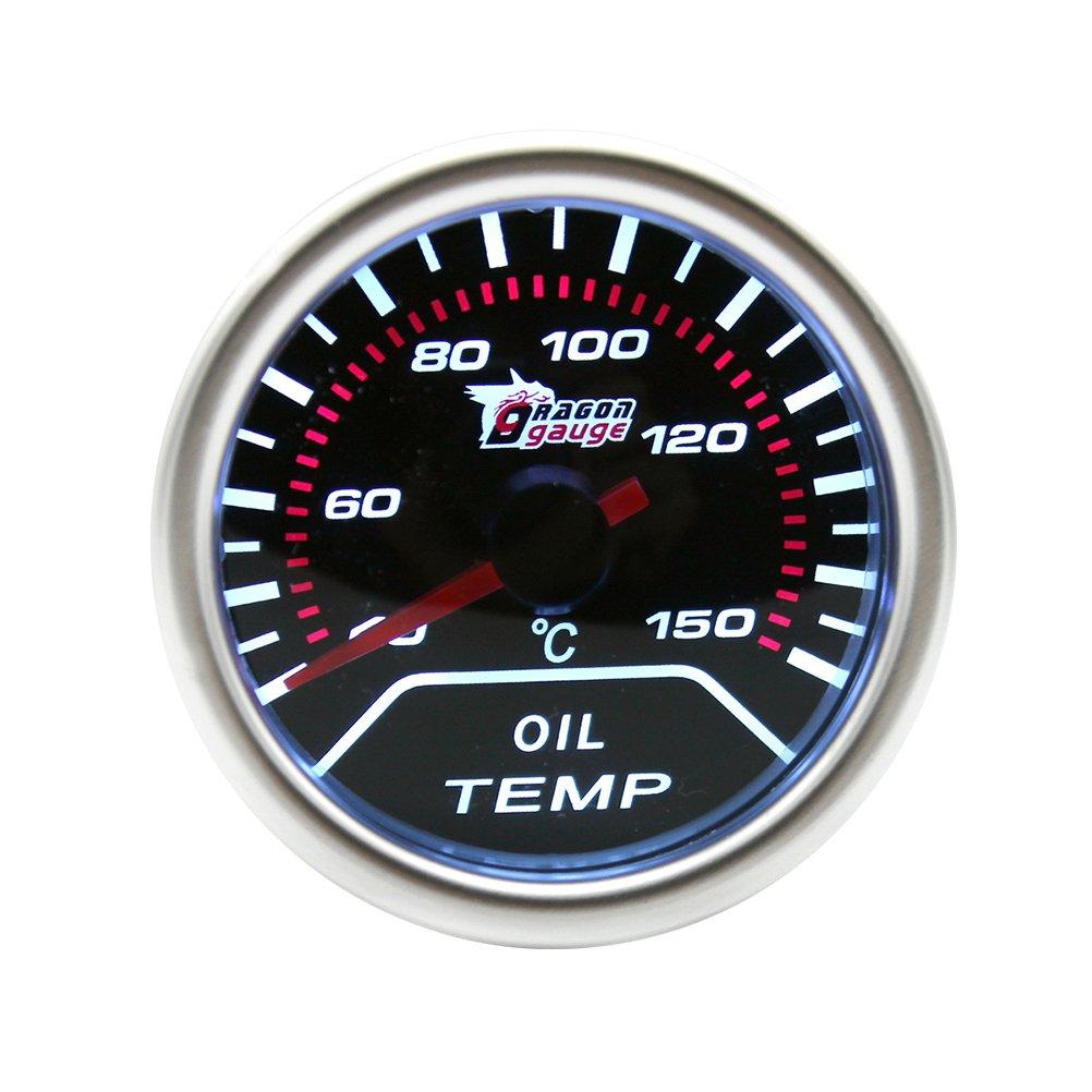 WINOMO Indicador de temperatura del aceite del coche 12V Indicador de temperatura del aceite del coche autom/ático de la luz blanca 52mm Blanco