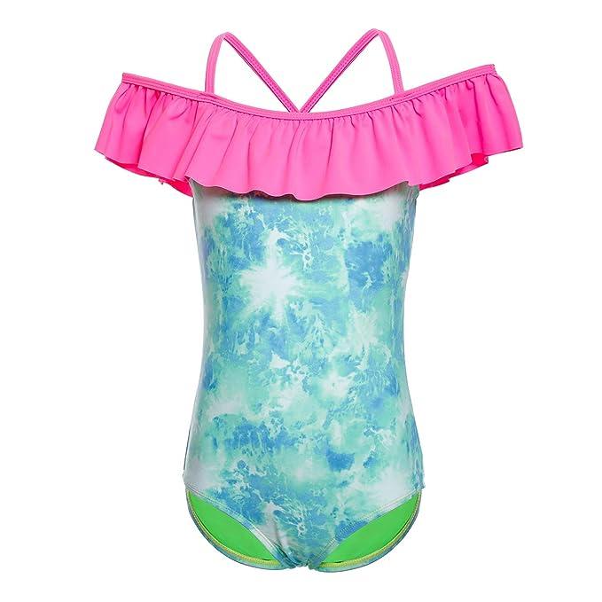 75bf7a9d010de DAYU Girls One Piece Swimsuits Off Shoulder Swimwear Flounce Ruffled  Bathing Suits Monokini