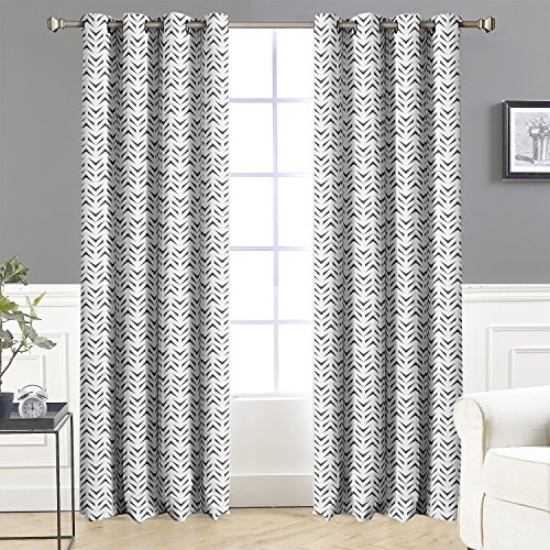 DriftAway Zoe Chevron Pattern Room Darkening/Thermal Insulated Grommet Window Curtains, Set of Two Panels, each size 52