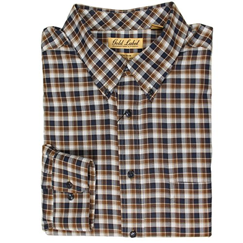 Gingham Labels - Roundtree & Yorke Gold Label Non-Iron Wrinkle Free Perfect Performance Mens Big & Tall Long Sleeve Shirt (Blue/Brown Gingham Plaid, 2XB)