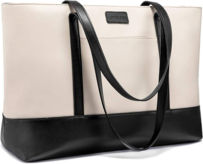 Laptop Bag for Women Faux Leather Computer Bag Large Laptop Purse, 15.6 Inch, Beige Black