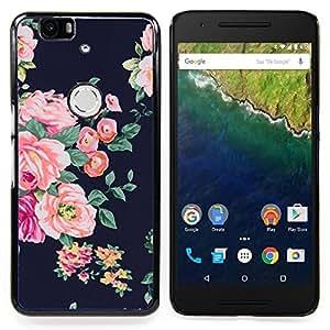 - rose black vignette rustic floral textile - - Modelo de la piel protectora de la cubierta del caso FOR Huawei Nexus 6P RetroCandy