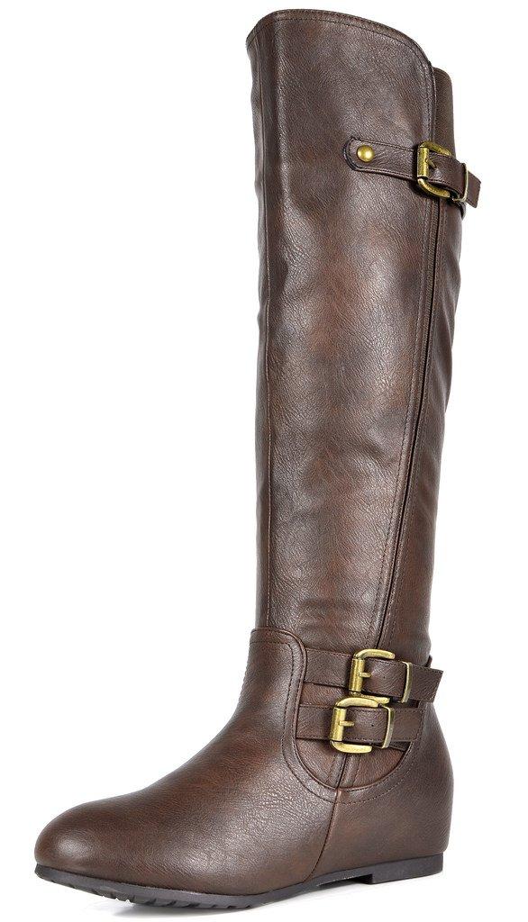 DREAM PAIRS Women's Franca Brown Knee High Hidden Wedges Winter Riding Boots Wide Calf Size 7 M US