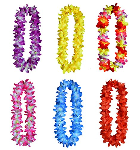 Zagtag 6pcs Thickened Hawaiian Leis for Hula Dance Luau Party, Floral Necklace Leis for Party Supplies Favors Celebrations and Decorations
