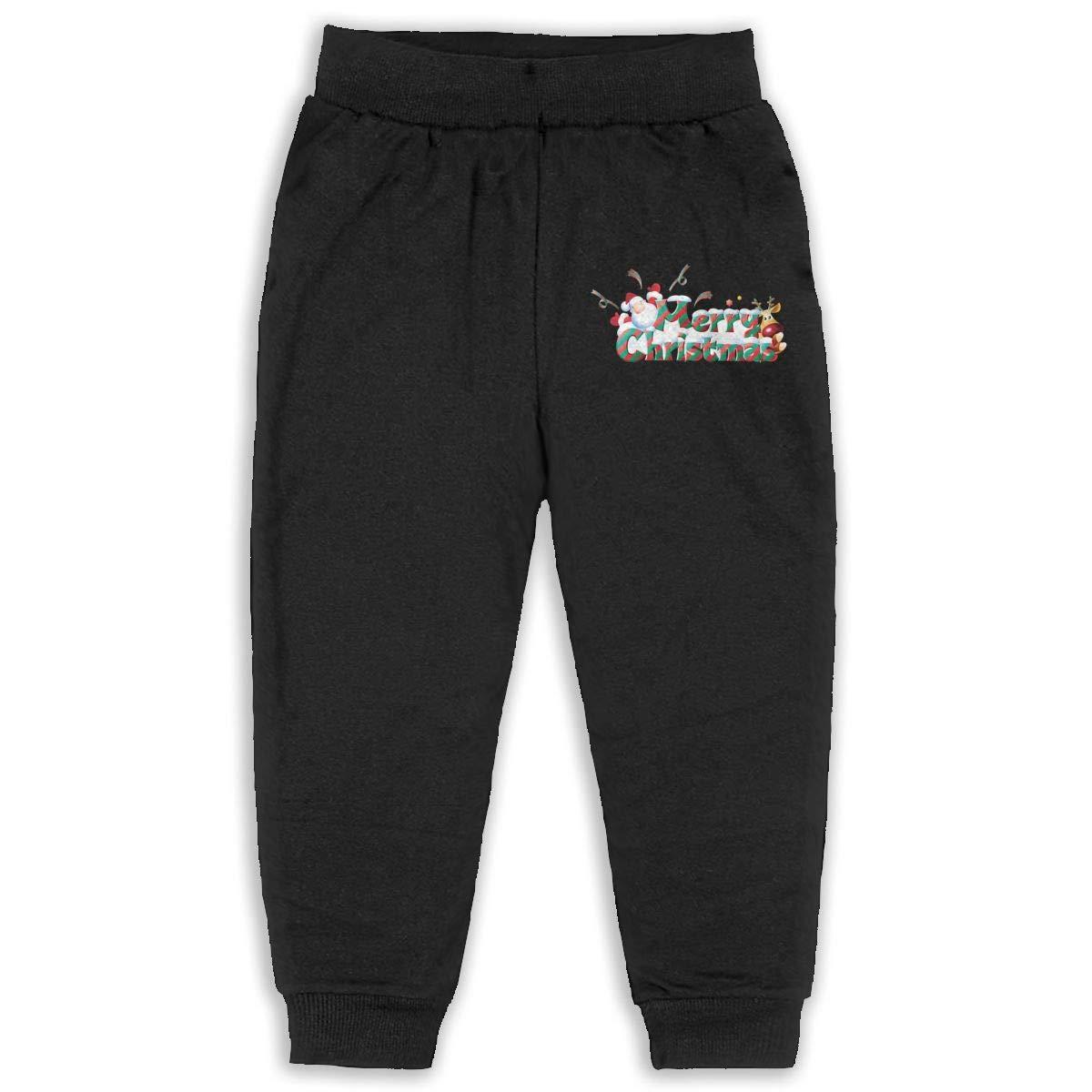 JOAPNWJ Merry Christmas Children Cartoon Cotton Sweatpants Sport Jogger Elastic Pants