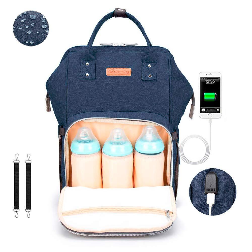 Baby Wickelrucksack Wickeltasche mit USB Ladeanschluss grau Multifunktional Gro/ße Kapazit/ät Babytasche Wasserdicht Oxford Reisetasche f/ür Unterwegs mit 2 Kinderwagengurten