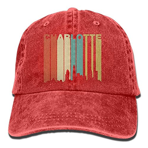 - Funny 1970's Style Charlotte North Carolina Skyline Cotton Baseball Caps Summer Fishing Dad Hats