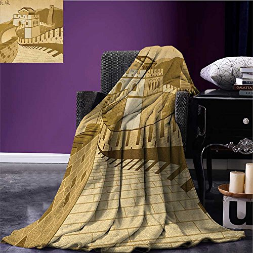 Asian Custom blanket Great Wall of China Ancient Castle at Sunset Silk Road Barrier Old Cultural Heritage Print all weather blanket Cream size:59