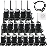 Retevis RT7 Walkie Talkies Rechargeable UHF Radio 400-470MHz 3W VOX FM 16CH Two Way Radios with Headsets(20 Pack) with Programming Cable