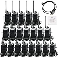 Retevis RT7 Walkie Talkies UHF 400-470MHz 3W 16CH Two Way Radio with Earpiece(20 Pack) and Programming Cable