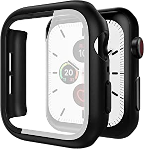 Suitable for Apple Watch SE/6/5/4 series protective case, 44mm screen protector, black Soft elastic TPU protective shell, with tempered glass screen protector, iwatch 4/5/6 series ultra-thin bumper