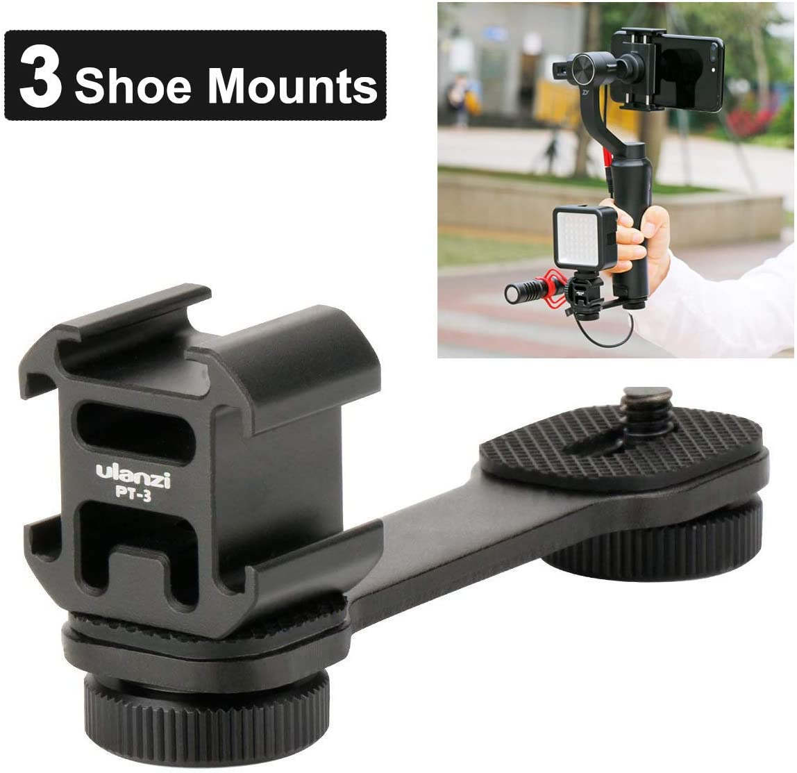 Ulanzi PT-3 Triple Cold Shoe Gimbal Microphone Mount Extenstion Bar, w 1/4 inch Adapter Video Light Microphone Mount Compatible for DJI OM 4/OSMO Mobile3/Zhiyun Smooth q 4/Feiyu Gimbal Stabilizer : Camera & Photo