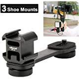 Ulanzi PT-3 Triple Cold Shoe Gimbal Microphone Mount Extenstion Bar, w 1/4 inch Adapter Video Light Microphone Mount Compatible for Zhiyun Smooth q 4 Feiyu DJI Gimbal Stabilizer