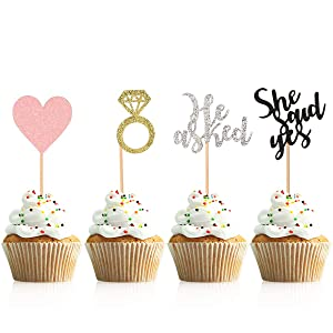 Donoter 48 Pcs He Asked She Said Yes Cupcake Toppers Diamond Ring Heart Cake Picks for Wedding Engagement Party Table Decorations