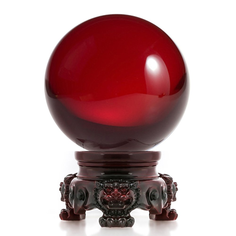 Amlong Crystal 3 inch (80mm) Red Crystal Ball with Redwood Lion Resin Stand and Gift Box for Decorative Ball, Lensball Photography, Gazing Divination or Feng Shui, and Fortune Telling Ball by Amlong Crystal