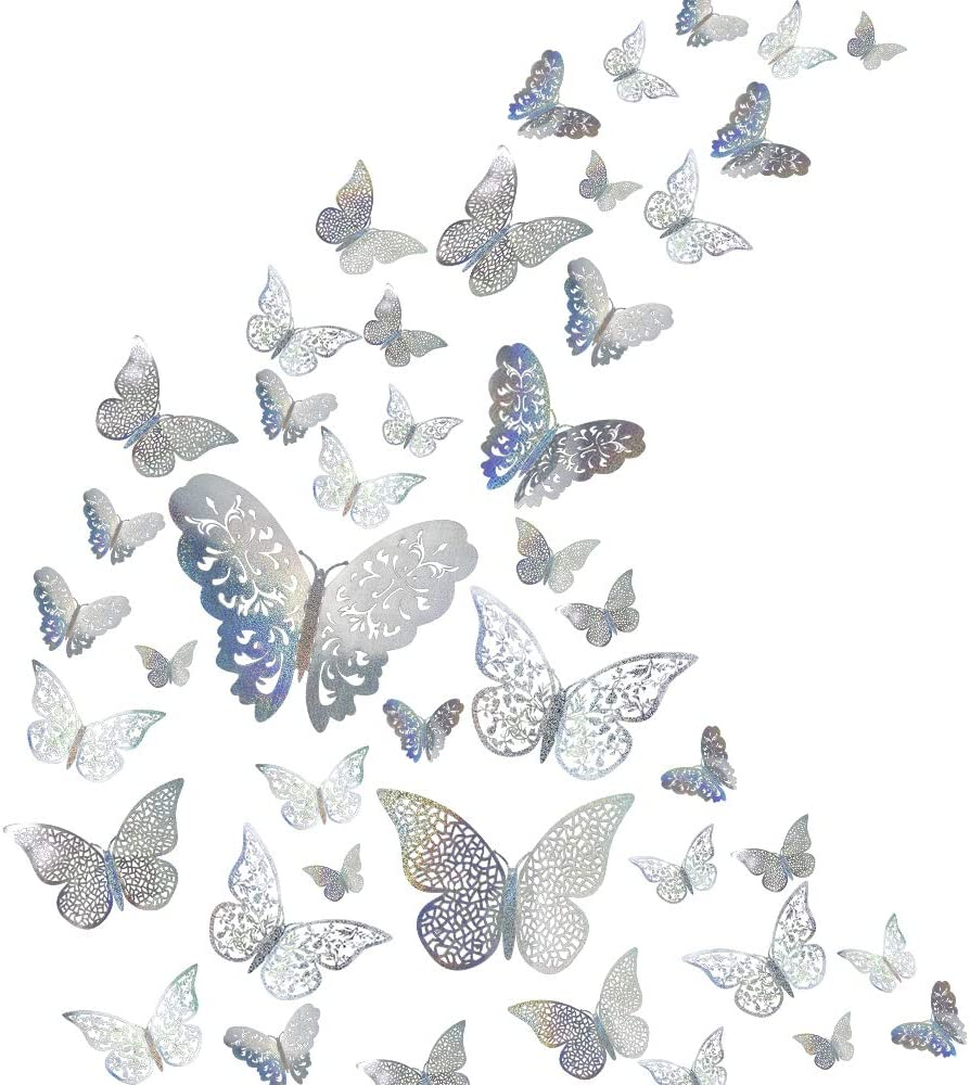 48Pcs Butterfly Decorations, Creatiee 3D Wall Decals|Metallic Art Sticker, DIY/Handmade/Removable/Pressure Resistance Paper Murals Gift for Home Kids Bedroom Nursey Party Décor