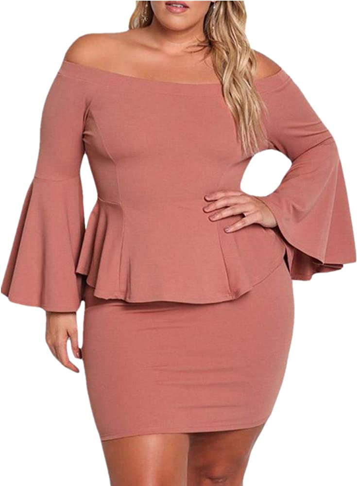 Ladies Casual Party Peplum Sleeve Womens Off The Shoulder Mini Dress T Shirt Top