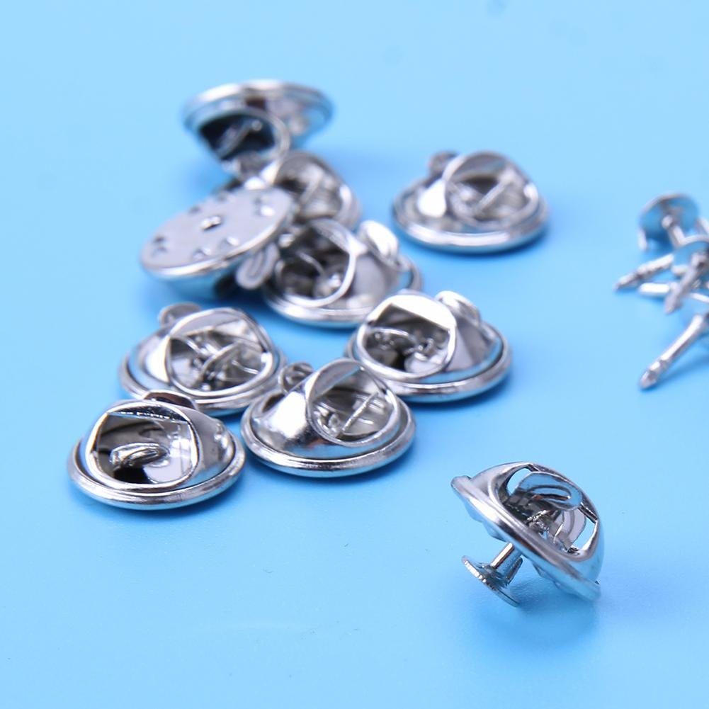 demiawaking Base de soporte de 100 piezas de broche Pin Back mariposa cierre Pin de embrague con tachuelas Badge Holder para DIY Craft Joyería Making Art ...