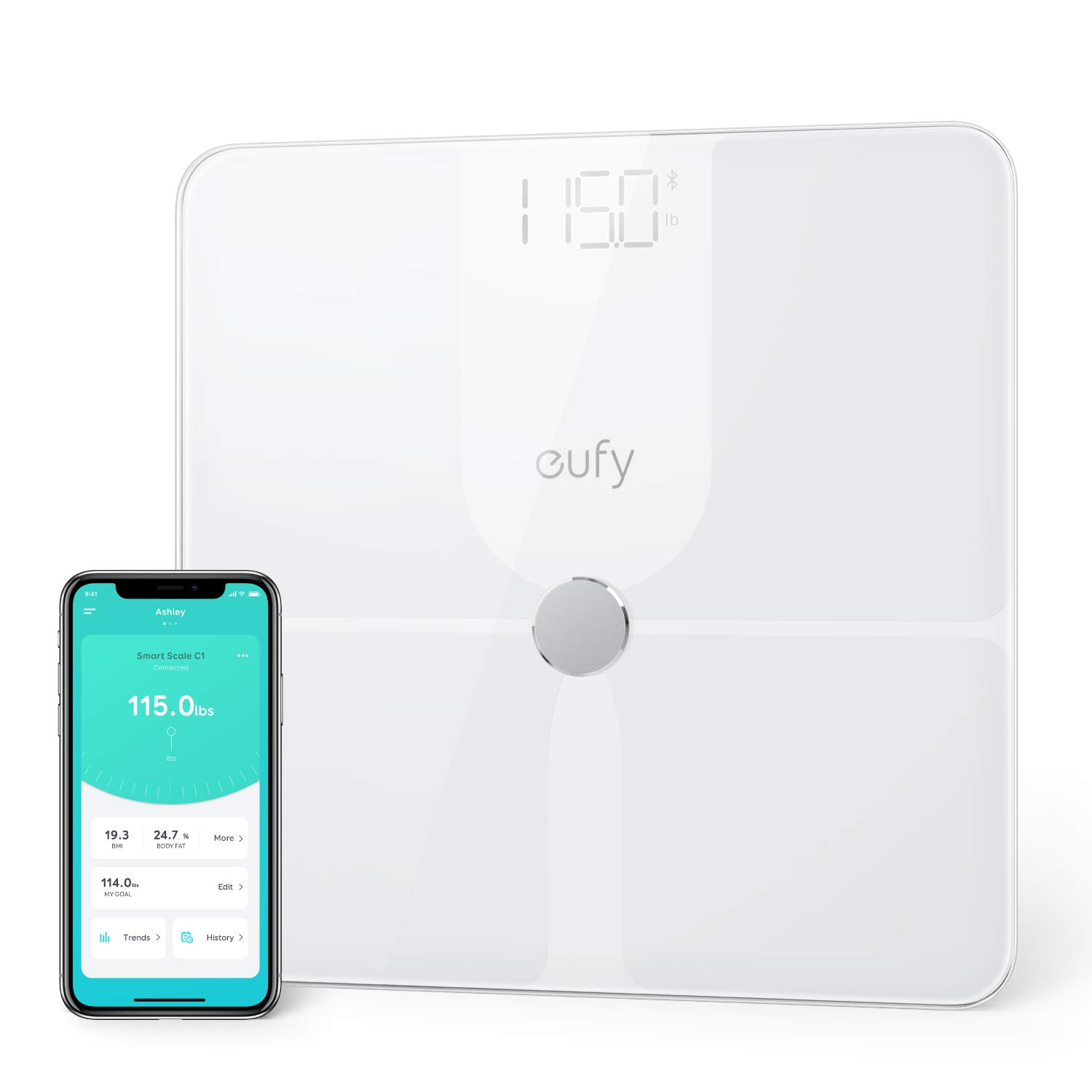 eufy Smart Scale P1 with Bluetooth, Body Fat Scale, Wireless Digital Bathroom Scale, 14 Measurements, Weight/Body Fat/BMI, Fitness Body Composition Analysis, Black/White, lbs/kg. by eufy