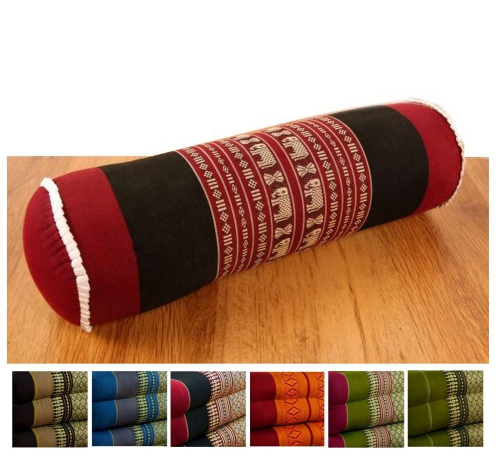 LivAsia Round Bolster Pillow 58cm x 17cm, Yoga Support Cushion, Thai Design