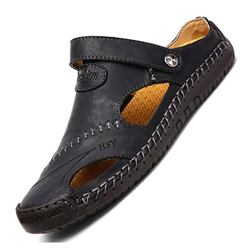 844fd64c76c048 Mens Hand Stitching Soft Outdoor Closed Toe Leather Sandals (US 8   UK 7