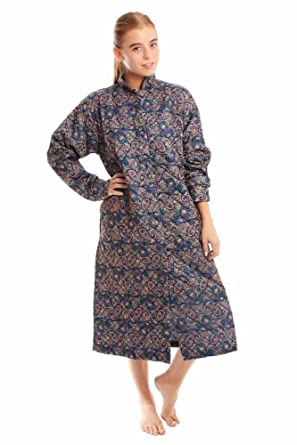 Ladies Paisley Quilted Button Through Gowns: Amazon.co.uk: Clothing