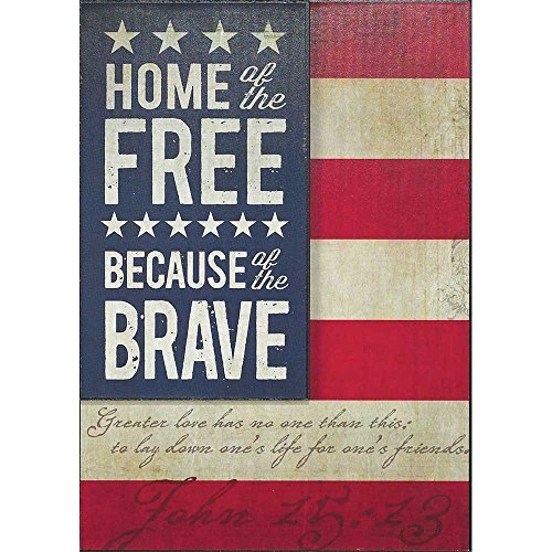 (Dicksons Home Of Free Because Of Brave American Flag 10 x 14 Wood Wall Sign Plaque)