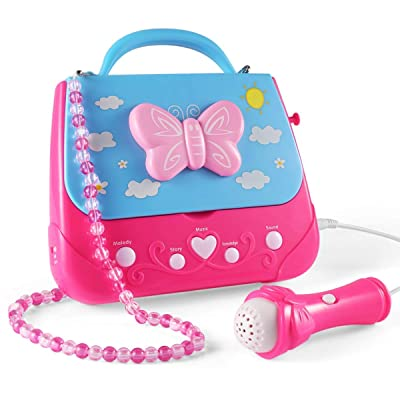WenToyce Kids Karaoke Machine, Girls Karaoke Machine Toys Music Player with Microphone and Lights, Battery Operated Portable Singing Machine with Adorable Sing-Along Boom Box for Girls: Toys & Games