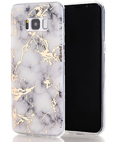 quality design 15989 3b06c Galaxy S8 Plus Case,Spevert Marble Pattern Hybrid Hard Back Soft TPU Raised  Edge Ultra-Thin Shock Absorption Slim Protective Cover Case for Samsung ...