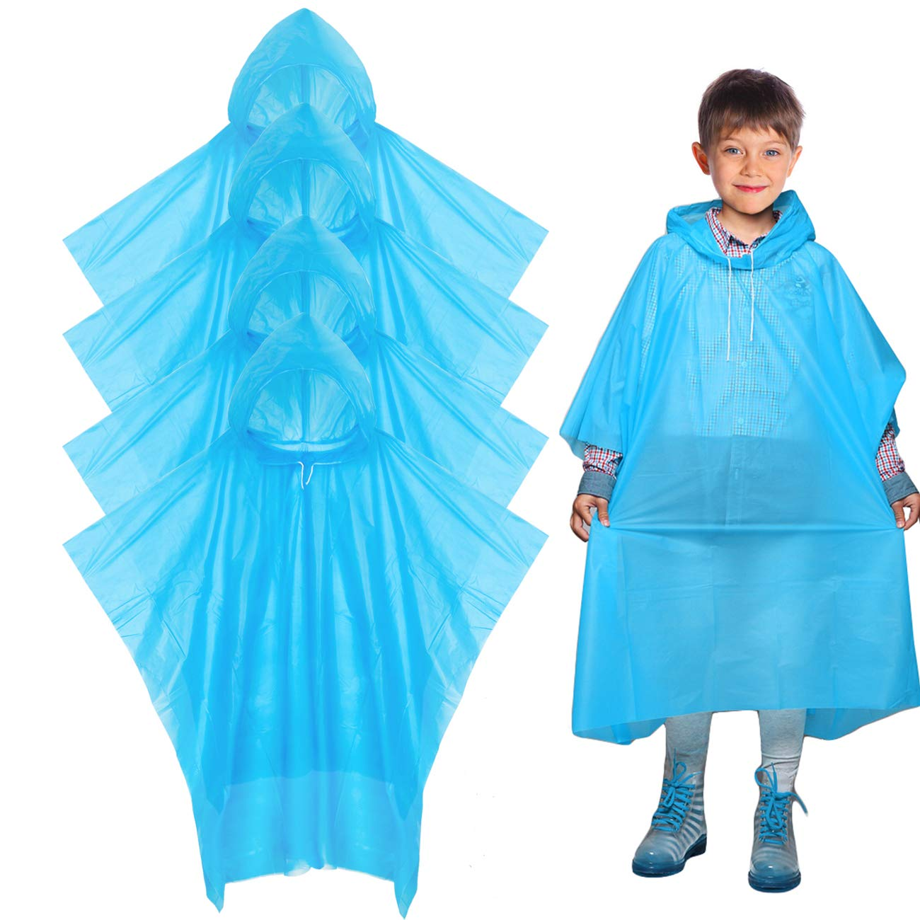 Digitek Waterproof Ponchos - Disposable Poncho Waterproof Raincoat Kids Adults, Waterproof Ponchos Disposable Raincoat, Raincoat Clear Rain Poncho Hood Cycling Camping - 4 Pack