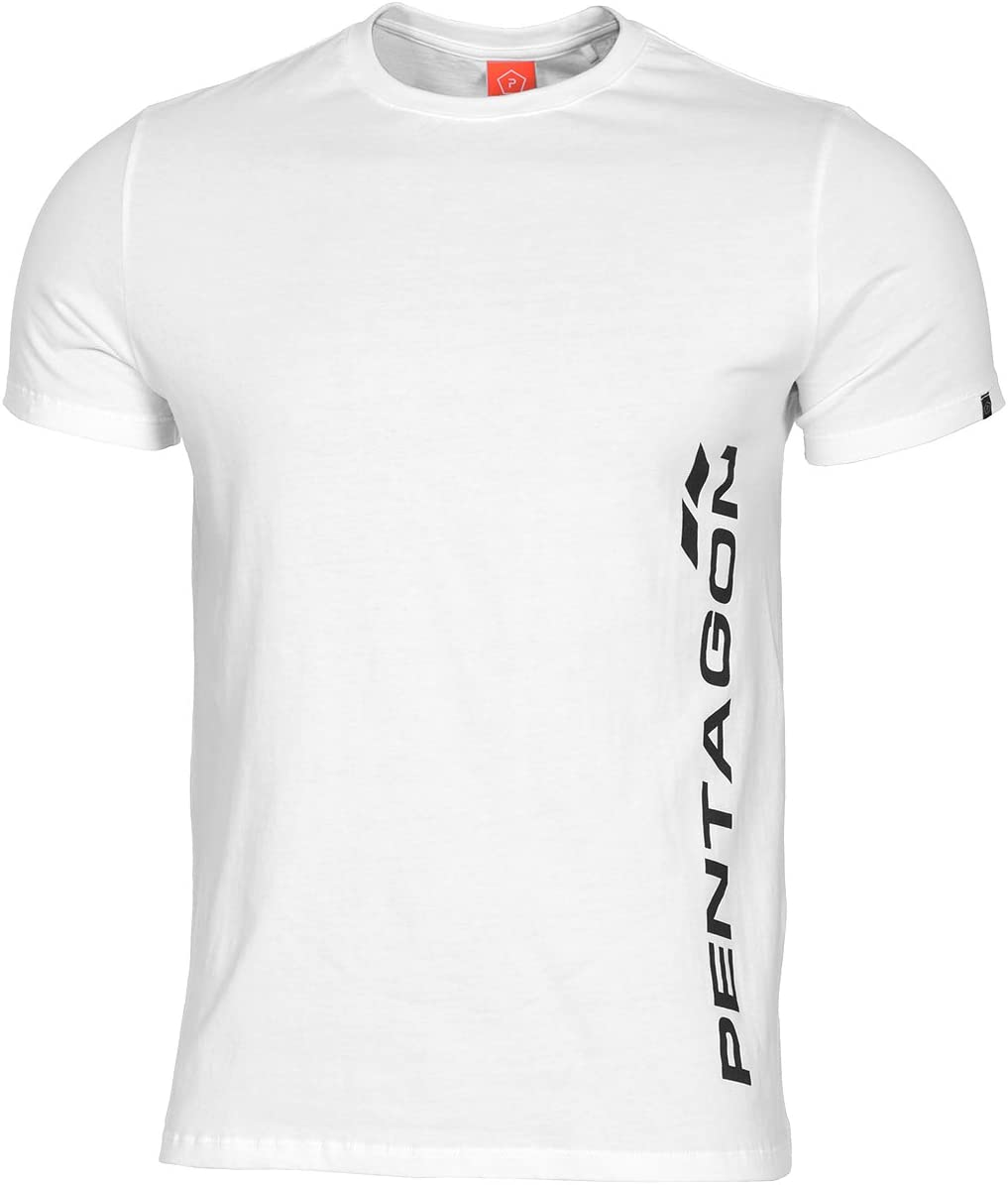 Pentagon Hombres Ageron T-Shirt Pentagon Vertical Blanco: Amazon ...