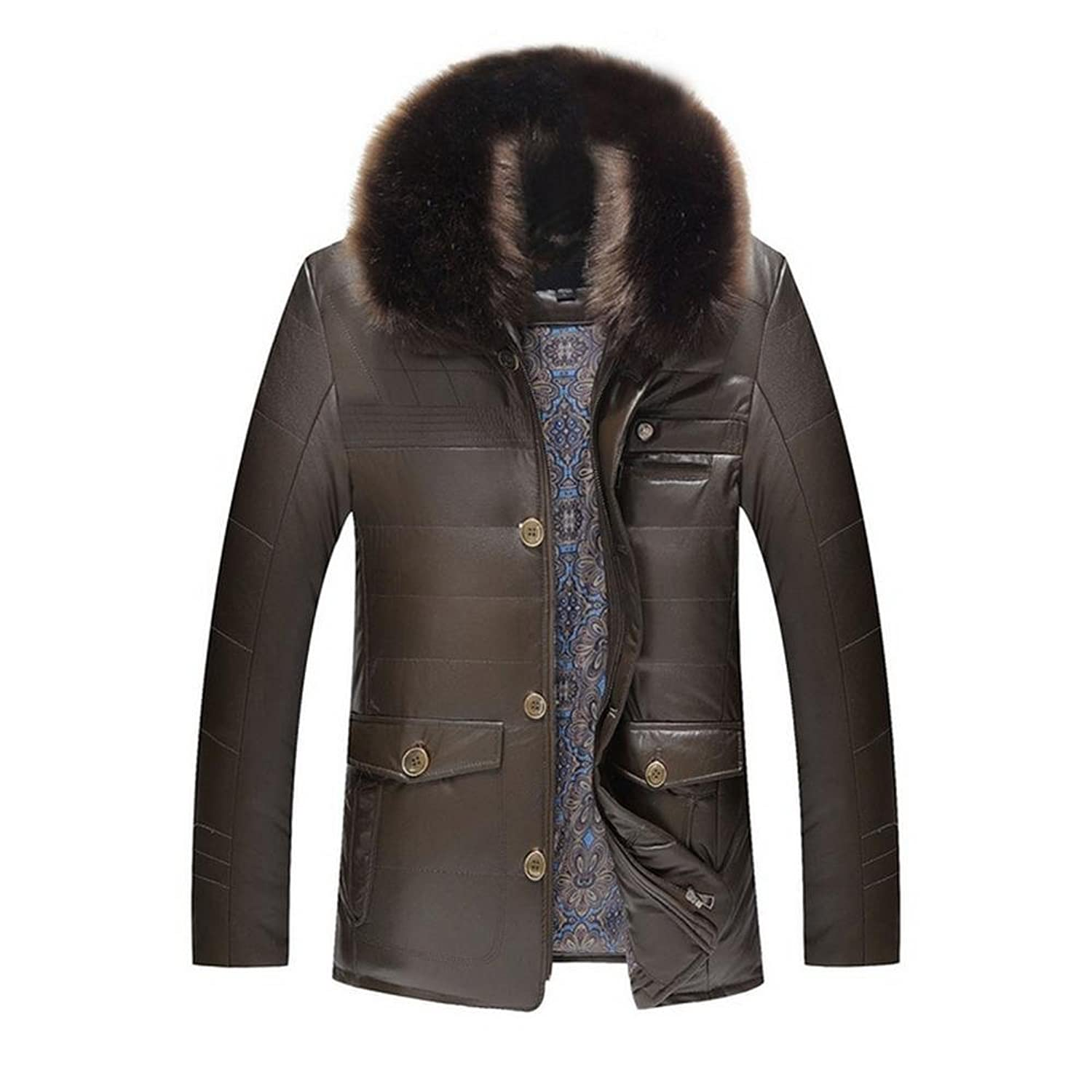 Hzcx Fashion Men's Fur Collar Faux Leather Jackets Father's Winter Warm Outwear