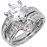 Sterling Silver Custom Engagement Ring Wedding Band Bridal Set Sizes 4-12
