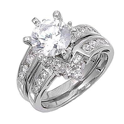 Amazon Com Sterling Silver Custom Engagement Ring Wedding Band