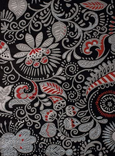 United Weavers of America Dallas Bandanna Rug Black 7ft. 10in. x 10ft. 6in, Graphic Pattern, Jute Backing. Synthetic Indoor Rugs